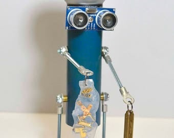 mic robot bot recycled hand crafted unique recycled alien space man fun gift collectible art assemblage signed colorful