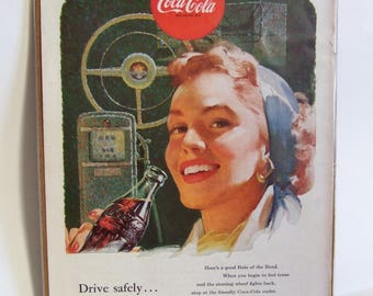 Vintage Coca Cola Advert- 'Drive Safely, Drive Refreshed' - 1950s Magazine Advert for Coke, Ideal for Framing