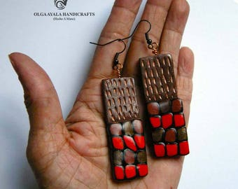 Red and Brown Texture and Dots Earrings