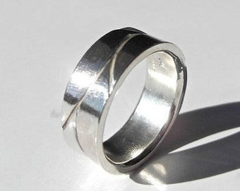 6mm Fresh Tracks Ring, Handcrafted in Recycled Sterling Silver, Palladium, Yellow & White Gold, Platinum, Mountain Inspired Jewelry