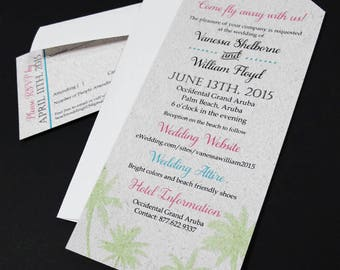 Luggage tag destination wedding invitations {Set of 20 or more}