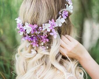 dusty purple flower crown, lilac flower crown, lavender wedding, purple wedding headpiece, purple headpiece, floral crown, prom, bridal hair