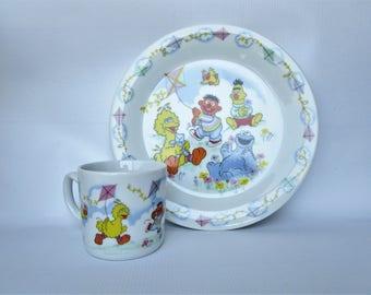 Vintage Sesame Street Mug and Plate Set - Newcor Porcelain - Muppets Inc. - Flying a Kite - Big Bird, Ernie, Bert, Cookie Monster