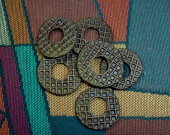 Three Pair of Handmade Spirit Hole Ceramic Discs, Reversible, Textured Each Side, Rich Brown, Perfect for Earrings, Necklaces or Bracelets