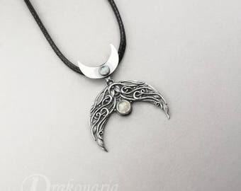 Elven lunula - lunar, silver pendant with moonstones, moonstone lunula, Slavic pendant, moonstone moon, knotwork, crescent moon
