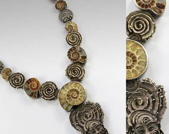 Memory of the Land - ONE OF A KIND, sculpted ammonites necklace, spirals, meditation, drakonaria, face, neolithic, goddess, klimt