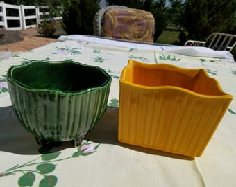 Two (2) Vintage McCoy Pots, Flower Pots, Planters, Mid Century, Green Footed and Goldenrod Square