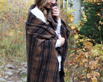 Large Blanket Scarf Fringe Flannel Scarf / COFFEE