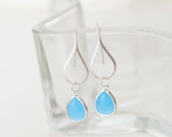 Ocean blue Drop Earrings, Blue, Sterling Silver, teardrop, nature, beach-inspired, bezel glass, charm, jewelry,  Handmade in Santa Cruz