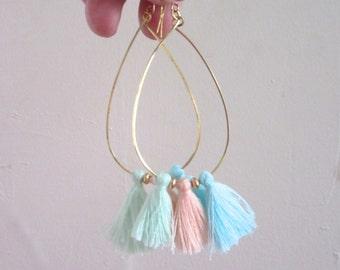 Pastel Tassel Hoop Earrings