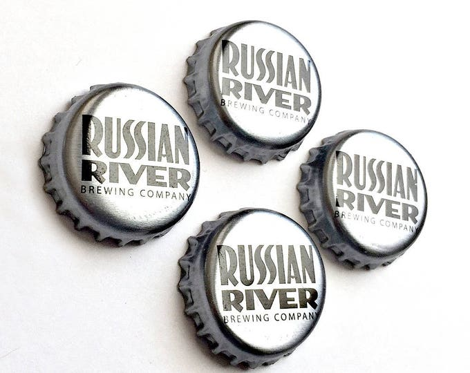 Craft Beer Magnet Set, Russian River Beer Cap Magnets, Beer Bottle Top Magnets, Set of Four, File Cabinet Magnet, Refrigerator Magnets