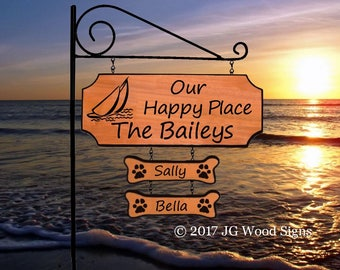 Sailboat RV Camping Sign with 2 dogbones - Family Camping Sign - w Camping Sign Holder JG Wood Signs Carved Camp Sign Bailey