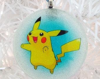 Pikachu glass and glitter ornament
