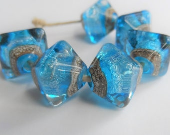 Handmade Lampwork Beads, Artisan Glass Beads, Aqua Blue with Silver Glitter