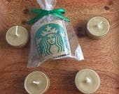 Starbucks Candle Coffee Scented Soy Wax Tea Light Packaged Coffee Party Favor or Coffee Wedding Favor Handmade Starbucks Candle Coffee Favor