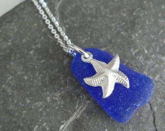 Cobalt Blue Sea Glass Necklace, Starfish Pendant, Upcycled Beach Glass Jewelry