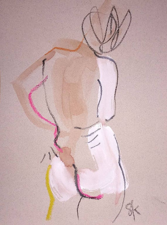 Nude painting of One minute pose 107.2 Original painting by Gretchen Kelly