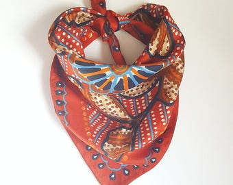 REPURPOSED Dog Bandana. Upcycled Vintage Scarf. Dog Scarf. Pet Accessories. Ready To Ship.
