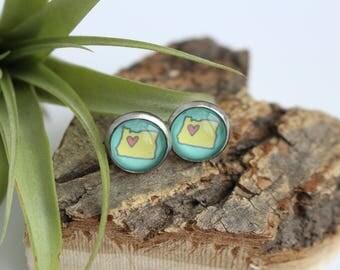 Oregon Heart Illustrated Earrings | ATL-E-ORH