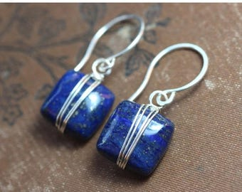 SALE Lapis Earrings Silver Wire Wrapped Blue Gemstone Earrings Sterling Silver and Blue Earrings
