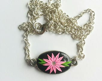 Polymer clay embroidery flowers necklace - floral necklace- Applique clay- flower pendant- embroidery clay