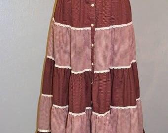 1970s Jessicas Gunnies Gunnie Sax Midi A line Skirt. Ruffle lace and satin trim. Oxblood burgundy. Gingham dots and checks. ruffle. Size 13