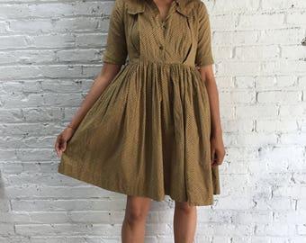 vintage 40s cotton dress / childrens 1940s dress / little girls vintage dress