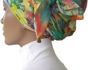 Chiffon Square Scarf Floral Bloom Head Wrap Scarf Tichel Scarf Hijab Scarf Head Scarf Handmade
