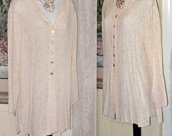 Vintage Shirt - Compagnie Internationale Express Blouse -  Size M - Made in USA - Rayon - Floral