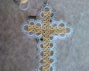 Tatted Lace Cross Bible Bookmark Yellow Beautiful Heirloom Quality Keepsake