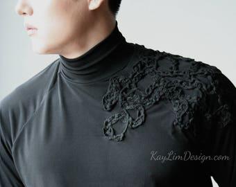 Men's black t-shirt /turtleneck t-shirt / mockneck t-shirt / mens top / black turtleneck top / dancer black knit top - KMT090