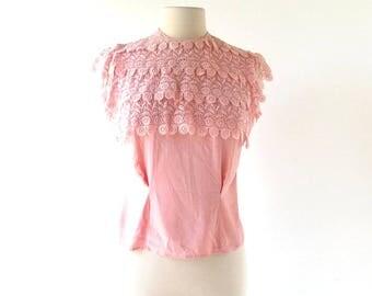 Vintage 1940s Blouse | Pink Lace | 40s Blouse | XS S