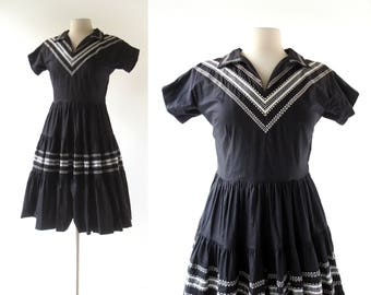 50s Patio Dress | Black 50s Dress | Fiesta Dress | XS S