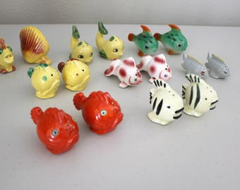 Fish Salt & Pepper Shakers, Vintage Ceramic S/P Lot 8 Sets