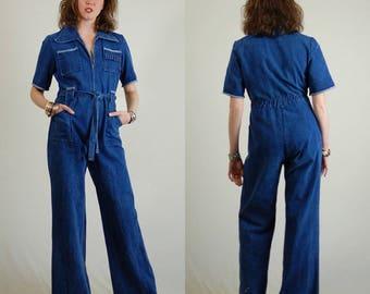 Denim Jumpsuit Vintage 70s Plunging Bell Bottom Distressed Zip Front Cotton Denim Jumpsuit (s m)
