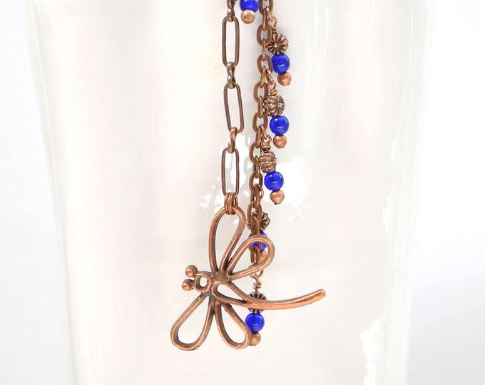 SALE - Boho Hair Clip Hair Dangle Gypsy Hair Jewelry Hair Beads 5 inch Dragonfly Hair Accessories Snap Clip or UPin Hair Fork