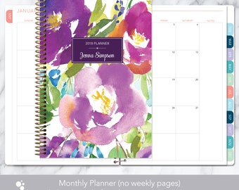 MONTHLY PLANNER notebook | 2018 2019 no weekly view | choose your start month | 12 month calendar monthly tabs | violet watercolor floral