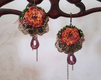 Ocher blossom earrings, lightweight lace earrings with bead embroidery, Boho hand beaded textile jewelry, Marie Antoinette inspired, ooak