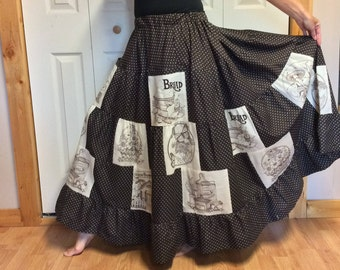 RESERVED Maxi Prairie Skirt with Pockets/Patchwork Plus Size Long Brown Skirt/Tiered Ruffle Skirt/Cottage/Boho/Gypsy/Polka Dot/Women XL-2X