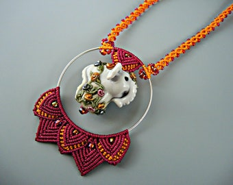 Colorful Elephant Macrame Necklace -  Micro Macrame Necklace with Artisan Lampwork Elephant - Circus - Carnival - Elephant Jewelry