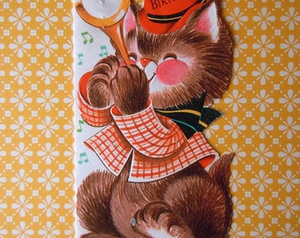 Vintage Rust Craft Die Cut Kitten Cat Playing a Brass Horn Greeting Card