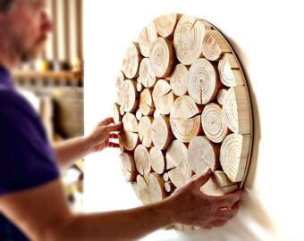Natural Wood Slice LOG MOSAIC Wall Art - sculpture - logs - wood slices - log art - circular - feature - art - wall art - wall decor