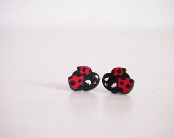 Ladybug earrings, lucky earring studs for who are looking for lucky moments