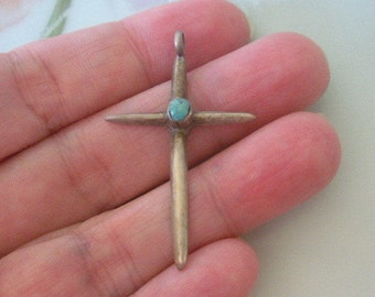 """Old Sterling Silver Turquoise Cross Pendant Native American Southwest Sand Cast 1-5/8"""" x 1"""""""