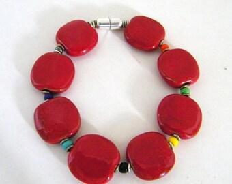 Sterling Magnetic Kazuri bracelet in red - Fair Trade certified - Flat Beads -