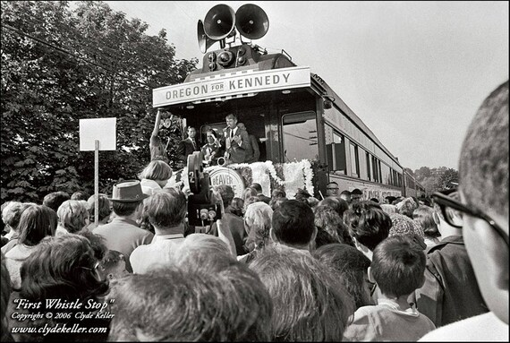 FIRST WHISTLE STOP, Robert F. Kennedy, Clyde Keller 1968 Photo