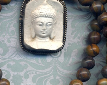 Buddha Pendant, Buddhist Necklace, Buddha Necklace, Brown Jasper Necklace, White Buddha Cinnabar Handmade Nepal Jewelry by AnnaArt72
