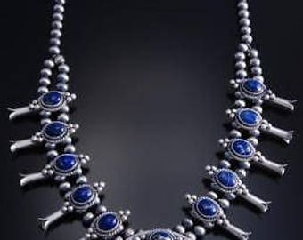 """24"""" Silver Lapis Navajo Squash Blossom Necklace by Erick Begay 7J24B"""
