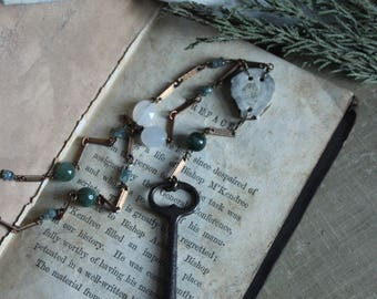 The Bindwood Stag Lodge Storyteller Necklace. Skeleton Key, Antler and Gemstone Rosary Style Necklace.