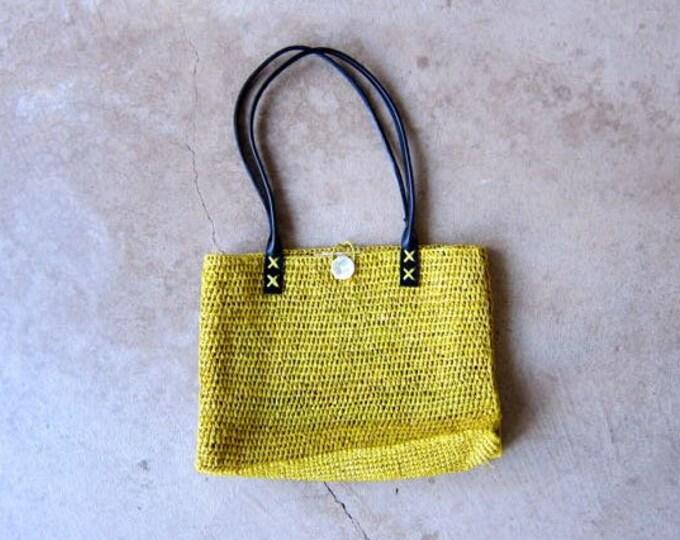 Annabel Ingall Handwoven Raffia Bag Yellow Straw Purse Small Minimal Beach Tote Top Leather Handles Bag Bohemian Natural Purse Hippie Boho